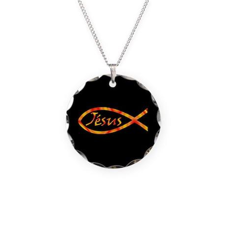 Jésus Fish Necklace Circle Charm