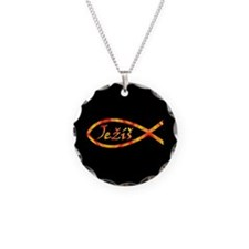 Jezís Fish Necklace Circle Charm