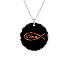 UYesu Jesus Fish Necklace Circle Charm