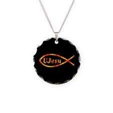 UJesu Jesus Fish Necklace Circle Charm