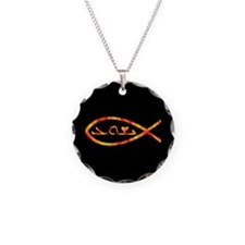 Aramaic Jesus Fish Necklace Circle Charm