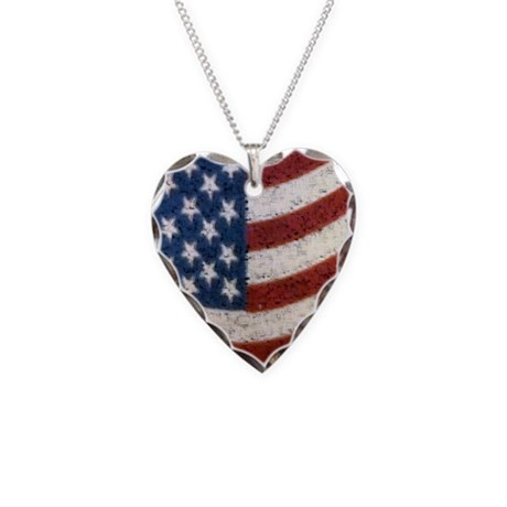 Vintage American Flag Necklace Heart Charm