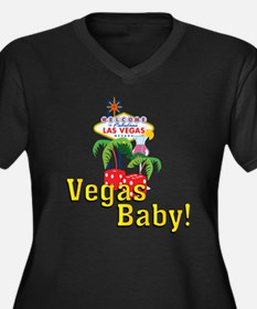 Vegas Baby! Women's Plus Size V-Neck Dark T-Shirt