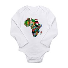 Flags of Africa Long Sleeve Infant Bodysuit