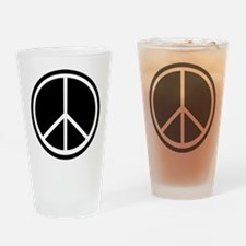 Peace Symbol Black and White Pint Glass