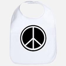 Peace Symbol Black and White Bib
