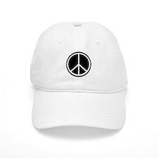 Peace Symbol Black and White Baseball Cap