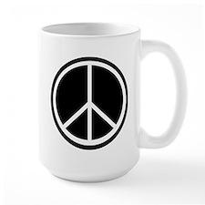Peace Symbol Black and White Large Mug