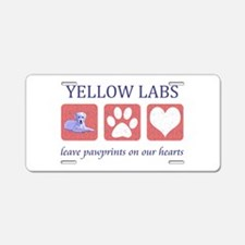 Yellow Lab Pawprints Aluminum License Plate