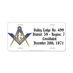 Valley Lodge Aluminum License Plate