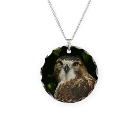 Red-tailed Hawk Necklace Circle Charm