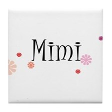 Mimi With Flowers Tile Coaster