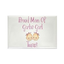 Proud Mom of Twin Girls Rectangle Magnet