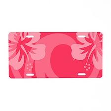 Hibiscus Pink Aluminum License Plate