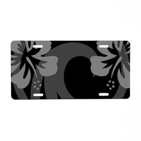 Hibiscus Black Aluminum License Plate