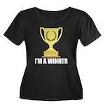 I'm A Winner Women's Plus Size Scoop Neck Dark T-S