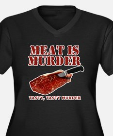 Meat is Murder Tasty Murder Women's Plus Size V-Ne