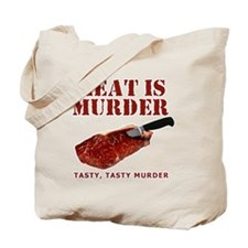 Meat is Murder Tasty Murder Tote Bag