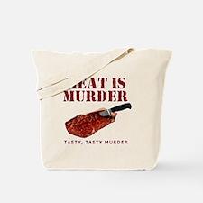 Meat is Murder Tasty Murder Tote Bag