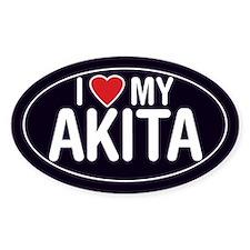 I Love My Akita Oval Sticker/Decal