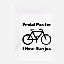 Pedal Faster Black Greeting Cards