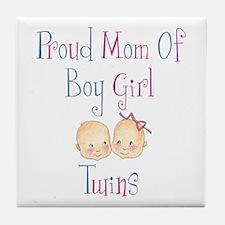 Proud Mom of Boy Girl Twins Tile Coaster