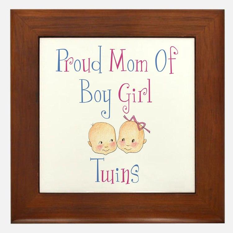 Proud Mom of Boy Girl Twins Framed Tile