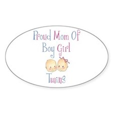 Proud Mom of Boy Girl Twins Oval Decal