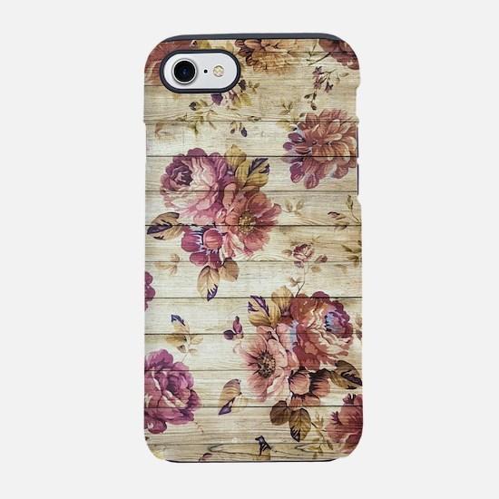 Vintage Romantic Floral Wood P iPhone 7 Tough Case
