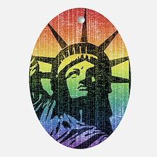 Rainbow Liberty 'Vintage' Ornament (Oval)