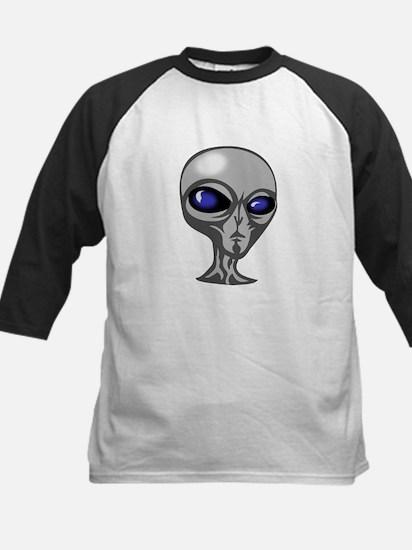Grey Alien Head Kids Baseball Jersey