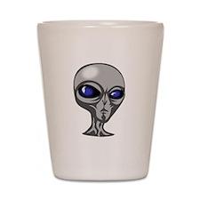 Grey Alien Head Shot Glass