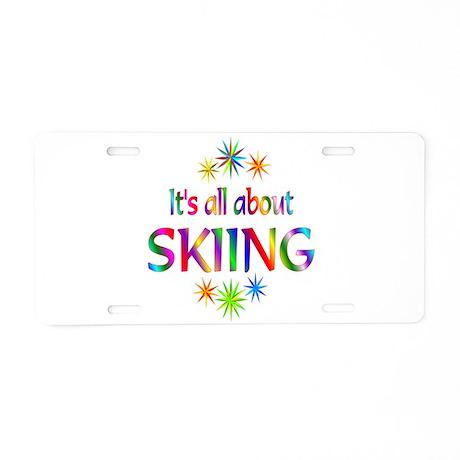 Skiing Aluminum License Plate
