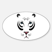 White Tiger Oval Decal