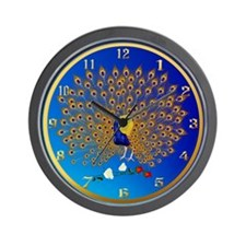 Peacock and Roses-gold Wall Clock
