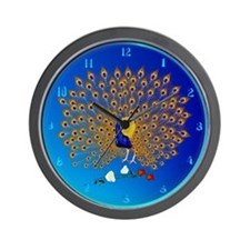 Peacock and Roses-blur Wall Clock