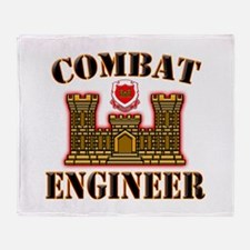 US Army Combat Engineer Gold Throw Blanket