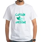 Captain Awesome Boat White T-Shirt