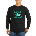 Captain Awesome Boat Long Sleeve Dark T-Shirt