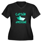 Captain Awesome Boat Women's Plus Size V-Neck Dark