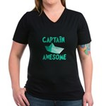 Captain Awesome Boat Women's V-Neck Dark T-Shirt