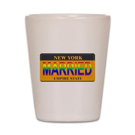 NY MARRIED Shot Glass