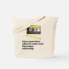 Cassette Tape Pencil Relation Tote Bag