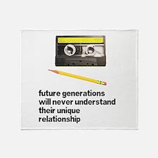 Cassette Tape Pencil Relation Throw Blanket