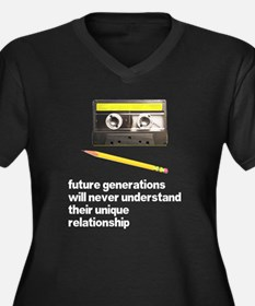 Cassette Tape Pencil Relation Women's Plus Size V-