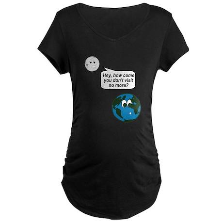 Moon Earth Visit Anymore Shir Maternity Dark T-Shi