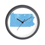 Vintage Grunge Baby Blue Blue Wall Clock