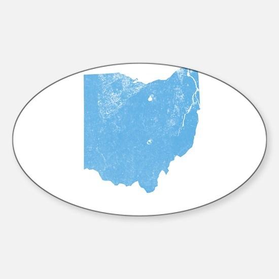 Vintage Grunge Baby Blue Blue Sticker (Oval)