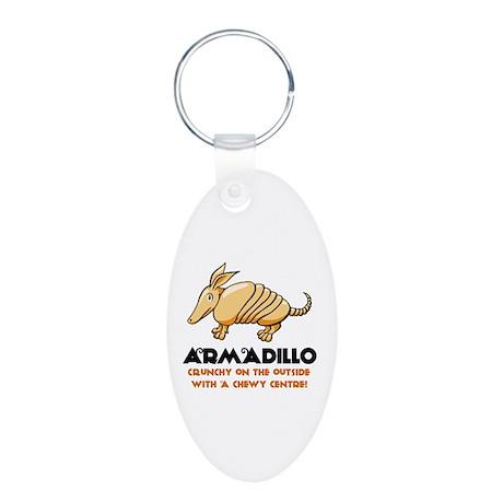 Armadillo Aluminum Oval Keychain