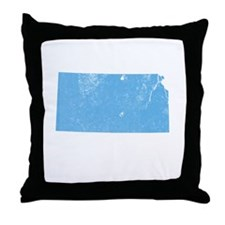 Vintage Grunge Baby Blue Blue Throw Pillow